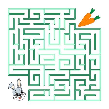 Labyrinth voor kinderen. De haas zoekt wortels in een doolhof op een witte achtergrond. Platte vectorillustratie Stock Illustratie