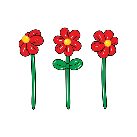 Ballon in de vorm van een bloem op de witte achtergrond. Kleurrijke tekening van opblaasbare bloemen gemaakt van gedraaide ballonnen. Platte vectorillustratie Stock Illustratie