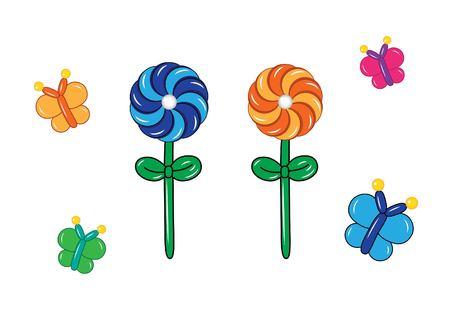 Kleurrijke tekening van opblaasbare bloemen gemaakt van gedraaide ballonnen
