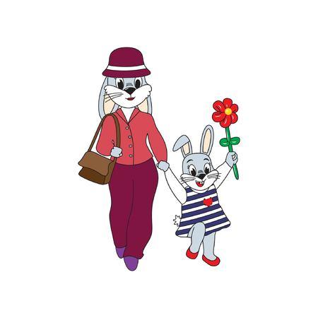 Hazen gaan wandelen. Moeder en dochter lopen op witte achtergrond. Platte vectorillustratie voor kinderen