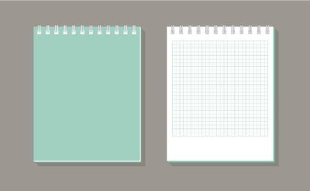 Notitieboekje met het spiraalvormige pictogram van de bindmiddel lange schaduw op donkere achtergrond. School notitieblok. Dagboek voor het bedrijfsleven. Ontwerpsjabloon voor notebook-omslag. Realistische notitieblok. Platte vectorillustratie