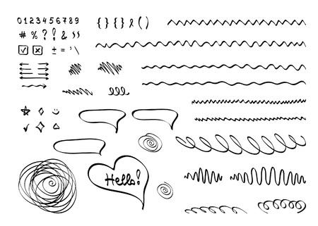 Hand belettering typografie EPS-10. Vector hand getrokken elementen in doodle stijl op witte achtergrond