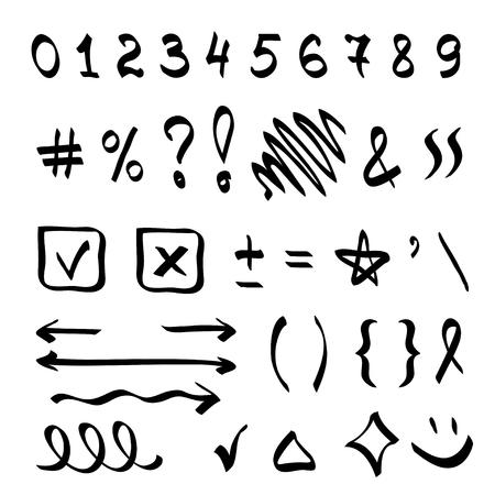 Hand belettering typografie vector-elementen in doodle stijl op witte achtergrond. Stock Illustratie