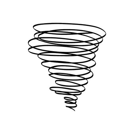 Vector handgetekende illustraties tornado. Doodle stijl op witte achtergrond Stock Illustratie