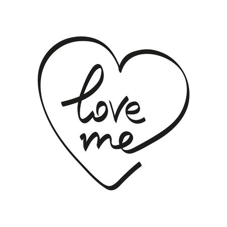 Hand belettering typografie Love me vector illustratie zwarte letters op een witte achtergrond. Stock Illustratie
