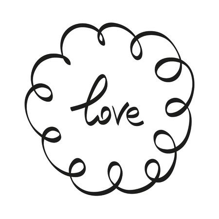 Hand belettering typografie Love vector illustratie zwarte letters op een witte achtergrond.