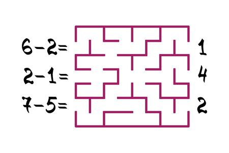 Labyrint met nummers voor kinderen op de witte achtergrond. Vind het pad naar het juiste antwoord. Platte vectorillustratie Stock Illustratie