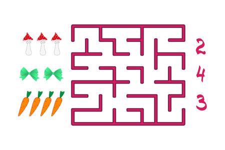 Labyrint met nummers voor kinderen op de witte achtergrond. Vind het pad naar het juiste antwoord. Stock Illustratie