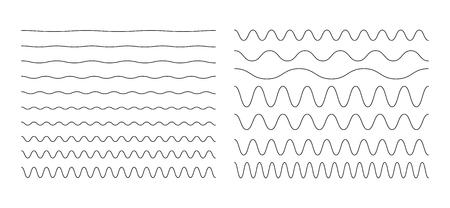 波状、ジグザグ、正弦水平線ベクトルイラストのセット。