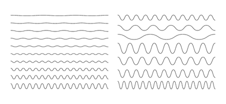 Set of wavy, zigzag, sinuous horizontal lines Vector illustration. Иллюстрация
