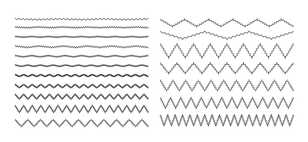 Set of wavy, zigzag, sinuous horizontal lines Vector illustration. Illustration