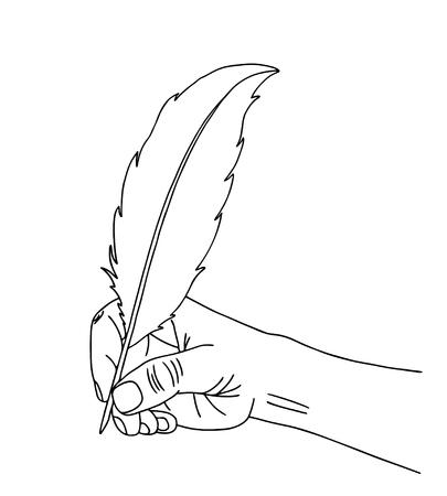 Hand schrijven en een pen. Zwarte contour en witte achtergrond. vector illustratie