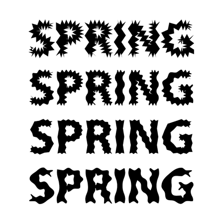 Black lettering and white background. Spring vector illustration 向量圖像