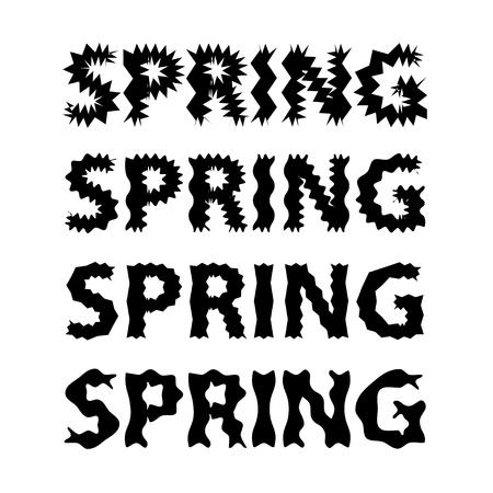 Zwarte letters en witte achtergrond. Lente vectorillustratie