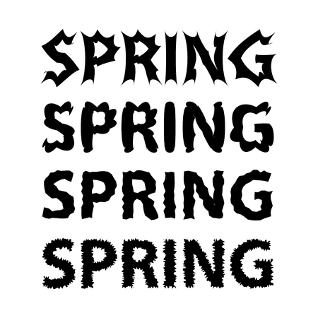 Black lettering of word Spring in white background vector illustration. 向量圖像