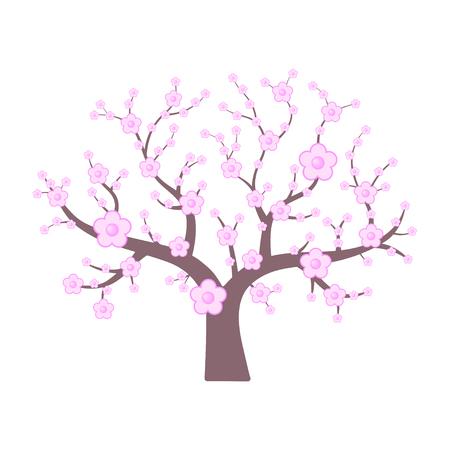 Pink japanese cherry. Spring flowering tree. Vector illustration