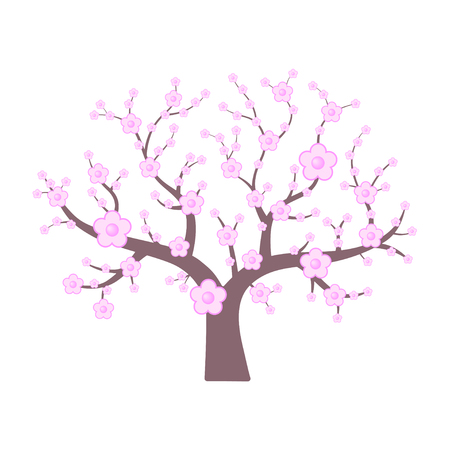 Roze Japanse kers. Lente bloeiende boom. Vector illustratie