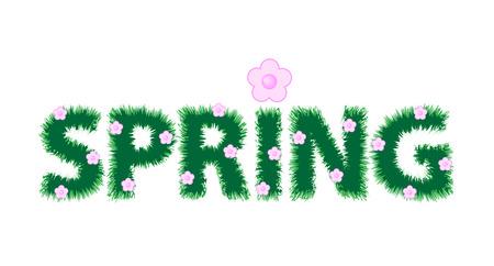 Inscriptie lente en roze bloemen. Vector illustratie Stock Illustratie