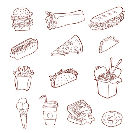 Isolated handdrawn fastfood illustrations on white background.