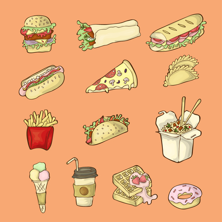 Color cartoon icon set of street food.