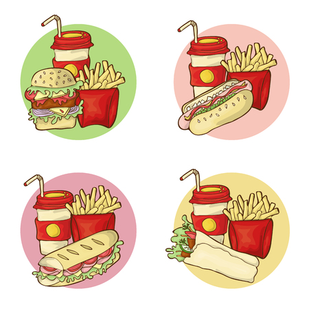 Fastfood menu vector sets of burger, frenchfrien, hot dog, baguette and gyro sandwich.