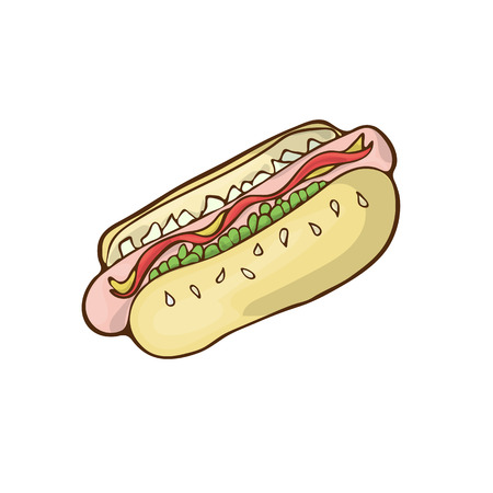 Fast food icon vector cartoon handdrawn