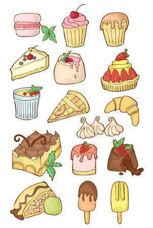 Sweet food icon collection. Pies, muffin, apple strudel, chocolate fondant, strawberry cake and other Illusztráció