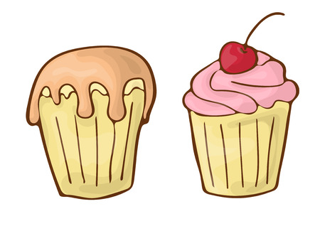 Classic dessert drawing. Isolated muffin on white background.