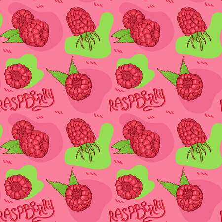 Hand drawn raspberry seamless pattern . Sketch style vector illustration.