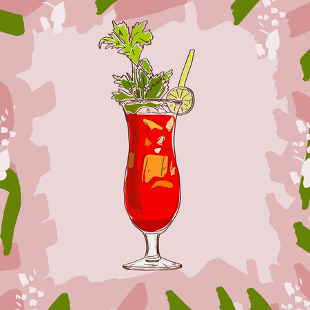 Bar coctail classic in hand drawn style. Isolated. Hand drawn glass with bloody mary, cheers, celebration toast