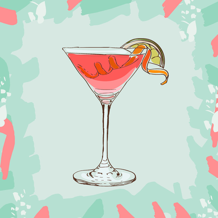 Bar coctail classic in hand drawn style. Isolated. Hand drawn glass with Cosmopilitan, cheers, celebration toast