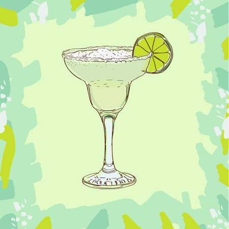 Bar coctail classic in hand drawn style. Isolated. Hand drawn glass with Daiquiri, cheers, celebration toast