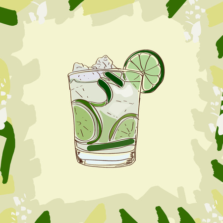 Sketch style illustration of classic cocktail. Set