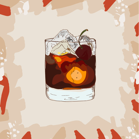 Sketch illustration of cocktail. Contemporary Classics Black Russian. Vector collection.