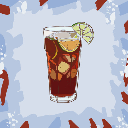 Cuba libre cocktail illustration. Set of drawings of contemporary classic drinks.