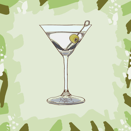 Dry martini cocktail illustration. Set of drawings of contemporary classic drinks. Ilustração