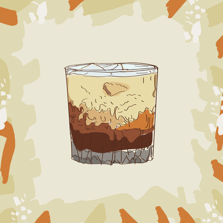 White russian cocktail illustration. Set of drawings of contemporary classic drinks. Ilustração