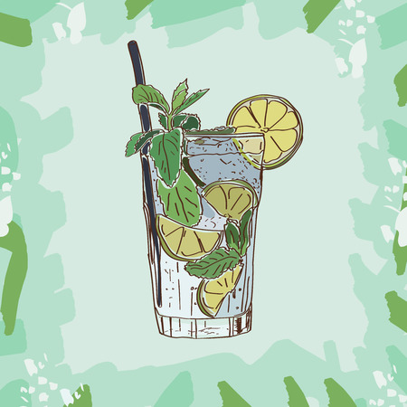 Mojito cocktail illustration. Set of drawings of contemporary classic drinks.
