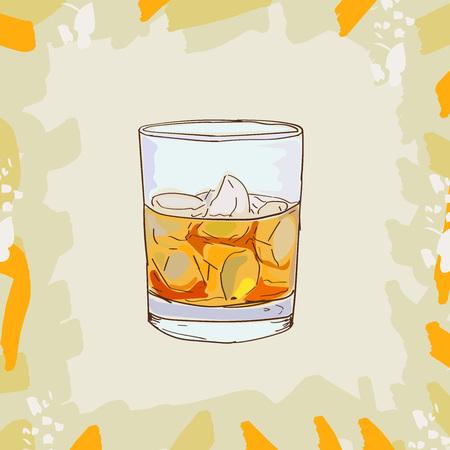 Illustration de cocktail de parrain. Bar alcoolisé boisson vecteur dessiné à la main. Pop Art Vecteurs