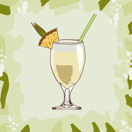 Hand drawn illustration of cocktail Pina Colada. Vector collection.