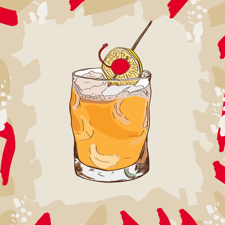 Whiskey sour cocktail illustration collection. Alcoholic cocktails hand drawn vector illustration set.