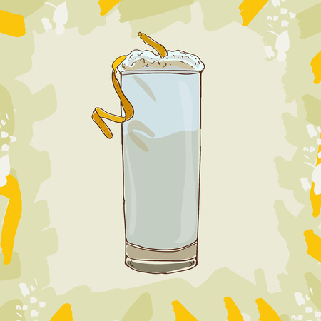 Ramos Gin Fizz cocktail illustration collection. Alcoholic cocktails hand drawn vector illustration set.
