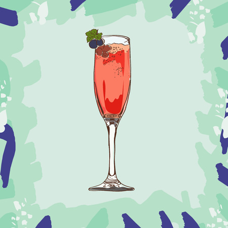 Hand drawn illustration of cocktail Kir Royale. Vector collection.