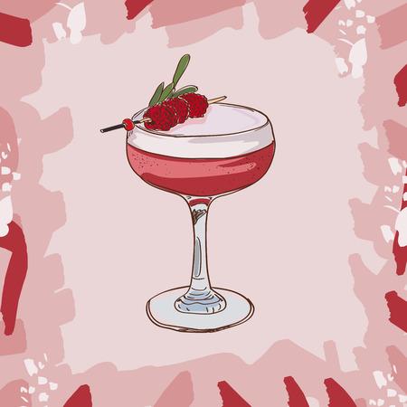 Clover club cocktail illustration. Alcoholic classic bar drink hand drawn vector. Pop art