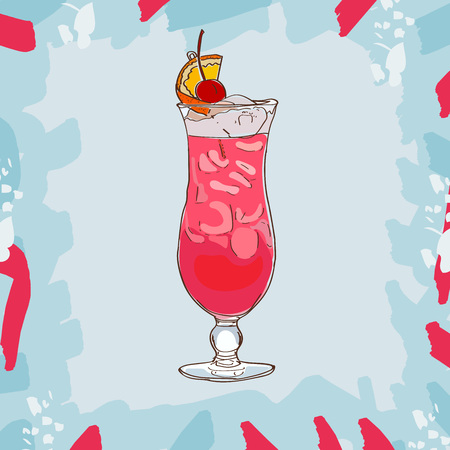 Singapore sling cocktail illustration. Alcoholic classic bar drink hand drawn vector. Pop art