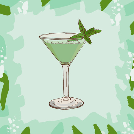Grasshoper cocktail illustration. Alcoholic classic bar drink hand drawn vector. Pop art Ilustração