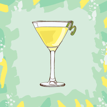 White lady cocktail illustration. Alcoholic classic bar drink hand drawn vector. Pop art Imagens - 122525555