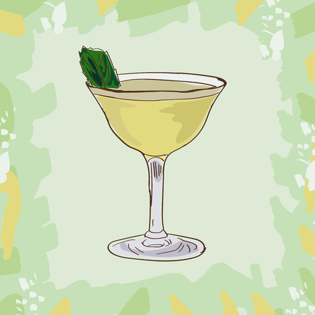 Basil gimlet alcoholic cocktail vector illustration recipe isolated