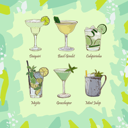 Set of classic cocktails on abstract green background. Fresh bar alcoholic drinks menu. Vector sketch illustration collection. Hand drawn. alcoholic cocktail beverage vector set collection