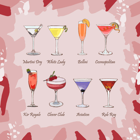 Set of classic cocktails on abstract pink background. Fresh bar alcoholic drinks menu. Vector sketch illustration collection. Hand drawn. alcoholic cocktail beverage vector set collection Ilustração